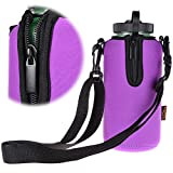 KLOUD City Neoprene Water Bottle Sleeve Insulator Cooler with Adjustable Shoulder Strap for 32 Oz.Wide Mouth Sport Water Bottle (Purple)