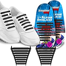 Diagonal One No Tie Shoelaces for Kids & Adults. The Elastic Silicone Shoe Laces to Replace your Shoe Strings. 16 Slip On Tieless Flat Silicon Sneakers Laces