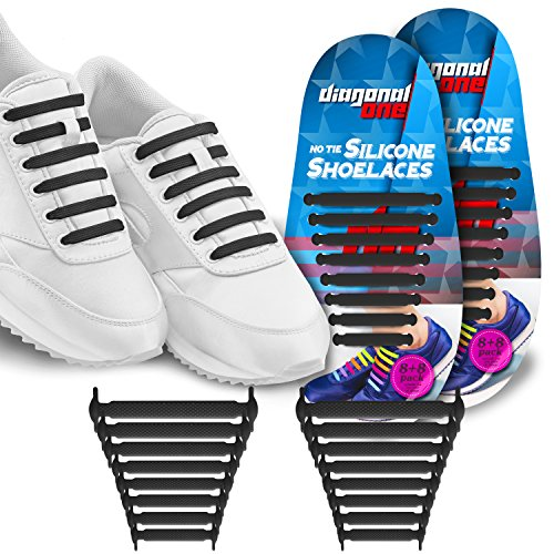 Diagonal One No Tie Shoelaces for Kids & Adults.The Elastic Silicone Shoe Laces to Replace Your Shoe Strings. 16 Slip On Tieless Flat Silicon Sneakers Laces (Black)