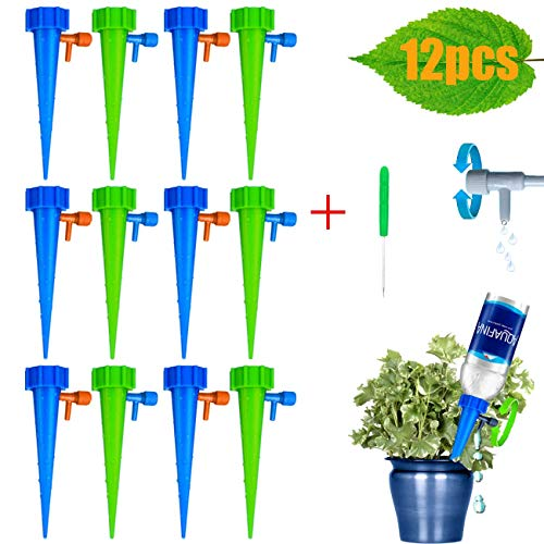【2019 NEW】Adjustable Self Watering Spikes,Plant Waterer, Plant Spikes System Plant Watering Devices with Slow Release Control Valve Switch Self Irrigation Watering Drip Devices for Outdoor Indoor Flow (Best Irrigation Controller 2019)