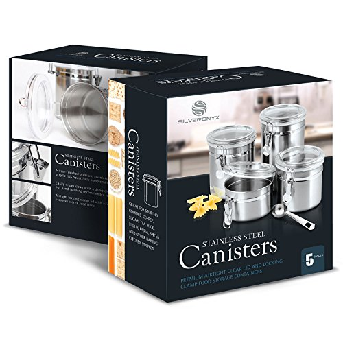 5 piece stainless steel clamp canister set with clear lids for Kitchen set node attributes