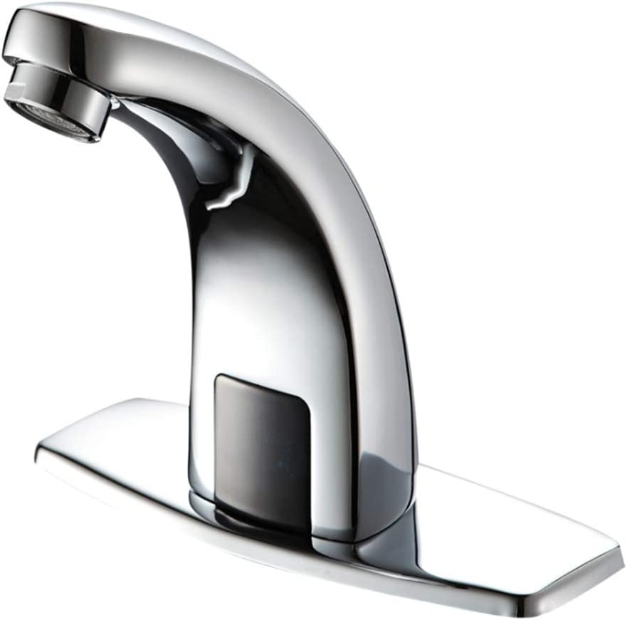 Grifo de fregadero con sensor automático, grifo de lavabo de latón, grifo infrarrojo inteligente, grifo de agua de una sola entrada de agua con caja de control para uso doméstico, adecuado para lava