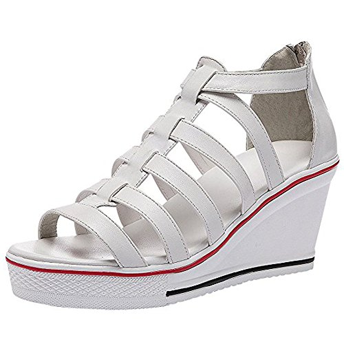 Ssrsh Chaussures Pu Cuir Baskets Marche Femme Toe Sandales Confort Blanc Compensées Wedge Peep Plateformes Talon rO4SrRwq