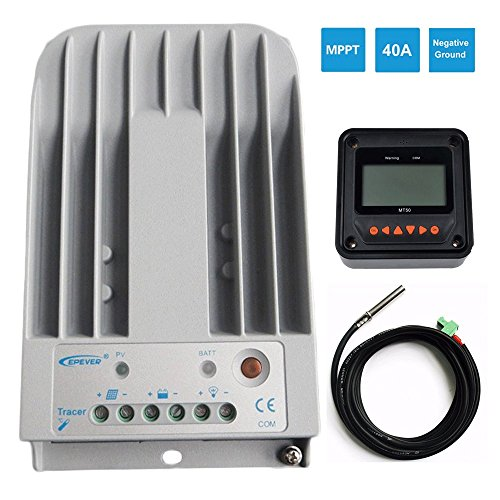 epever 40A MPPT Solar Charge Controller+MT50 Monitor+Temp.Se