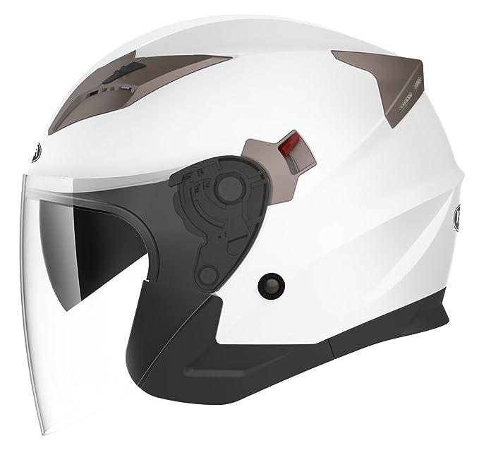 Amazon.es: YEMA Casco Moto Jet ECE Homologado YM-627 Casco Moto Abierto Custom Scooter para Mujer Hombre Adultos con Doble Visera-Blanco-L