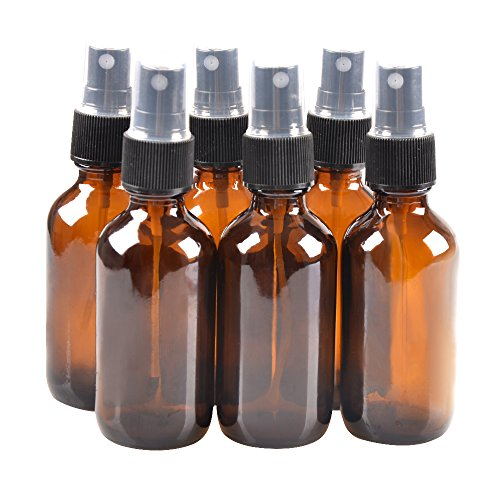 6 Pack,2oz Amber Glass Bottle Bottles with Black Fine Mist Sprayer.Refillable & Reusable.Designed for Essential Oils, Perfumes,Cleaning Products,Aromatherapy.6 Chalk Labels as gift. ()