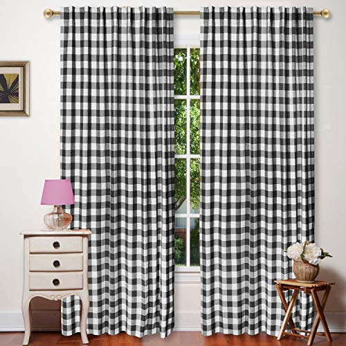 (Window Panels Curtain in Gingham Check Cotton Fabric 50x96 Black/White, Set of 2,Farmhouse Curtain, Tab Top Curtains, Room Darkening Drapes, Curtains for Bedroom, Curtains for Living Room, Curtains)
