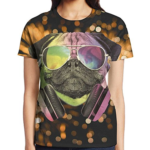 Bnm DJ Pug Dog With Headphones Sunglasses Round Collar Short-Sleeve T Shirts For Women Young - Sunglasses Dj 61