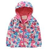 Difly Kids' Girls Zip-Up Cute Pink Heart-shaped Sport Waterproof Hoodies Windbreaker Jaket Outerwear