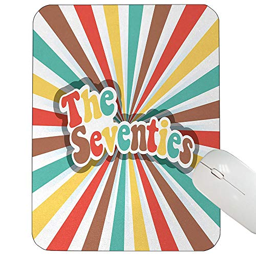70s Party Customized Mouse pad The Seventies Retro Pastel Colored Typography Old Radial Backdrop Artwork Print Mouse pad Multicolor 9