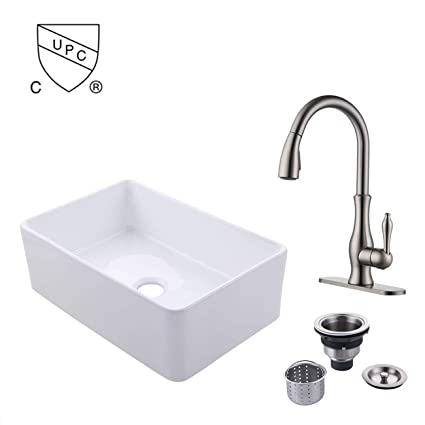 KES Fireclay Sink Farmhouse Kitchen Sink (30 Inch Porcelain Undermount  Rectangular White) with Pull-out Faucet Drain Strainer Assembly, BVS117-C2