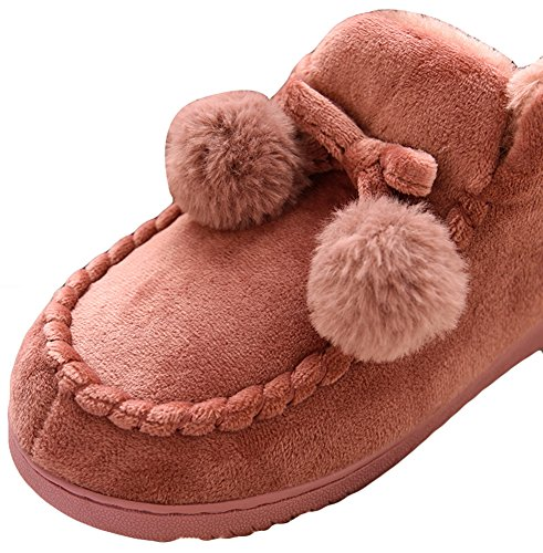 AGOWOO Womens Fuzzy Lining Indoor Outdoor Bootie Slippers Red kUXC9msvH