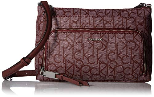 (Calvin Klein Hudson Top Zip Signature Crossbody, Textured Petal/)