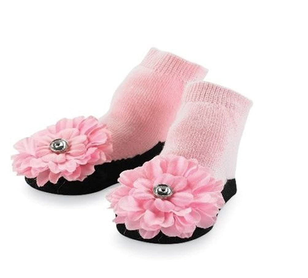 192010 Pink Flower Socks on Ribbon Loop Size 0-12 Month