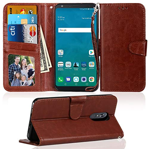 - LG Stylo 4 Case, Asstar [Kickstand Feature] Premium PU leather Flip Wallet Case with Credit Card Slot Holder Shockproof Protective Case Cover for LG Stylo 4 2018 (Brown)