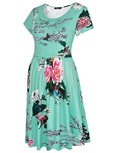 Quinee Womens Floral Short Sleeve Summer Maternity Nursing Breastfeeding Dress