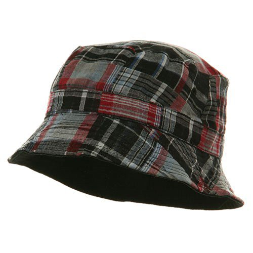 (Youth Reversible Twill Plaid Bucket Hat - Black Red)
