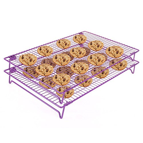 Cool The Cake Down | 2pcs Food Grade Non-Stick 17x11 inches Steel Multi-Tier Grid Wire Cooling Rack for Baking, Good for Cake, Cookie, Bread, Other Baked Food, Stable Legs, Oven Safe, Purple | 546.2
