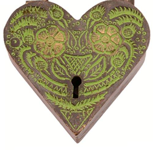 """Purpledip-Messingschloss Antik-Optik Motiv 11002 /""""Aching Heart/"""""""