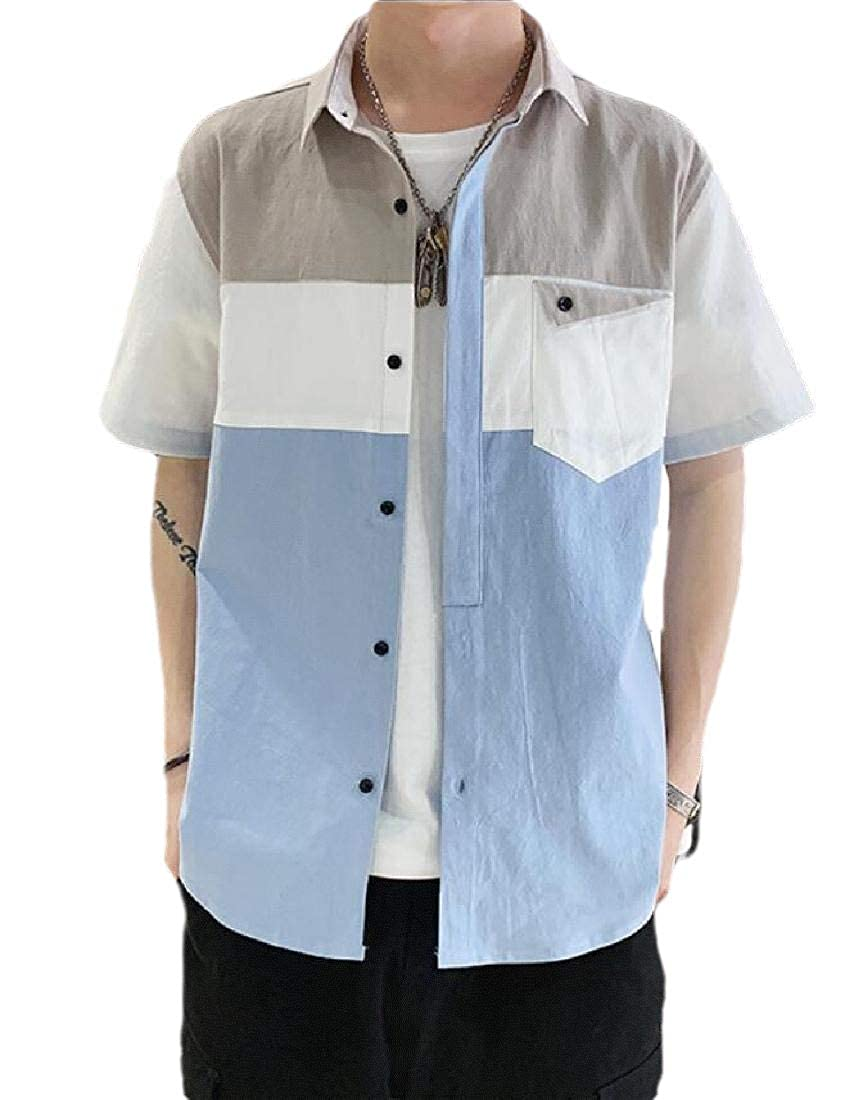 HANA+DORA Mens Summer Tops Blouses Short Sleeve Work Button Down Shirts
