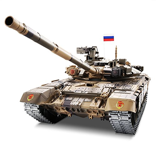 Heng Long Pro Edition Remote Control 2.4Ghz 1/16 Scale Russian T-90 RC Main Battle Tank with Metal Gear and Tracks, Airsoft RC Tank