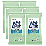 Wet Ones Sensitive Skin Hands & Face Wipes, 20 Count Travel Pack (Pack of 6)