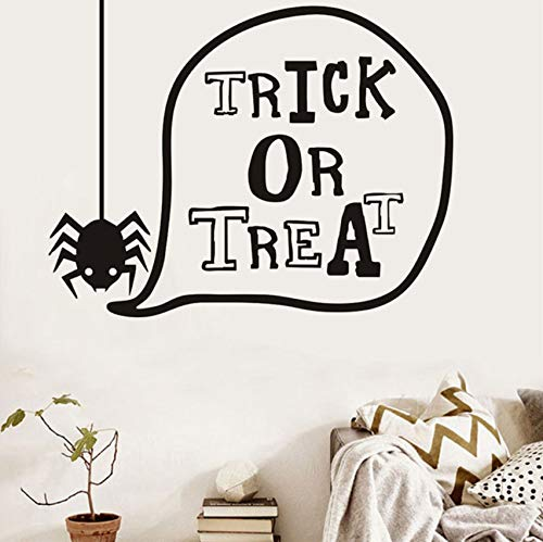 xbwy Trick Or Treat Lovely Spider Halloween Wall Stickers for Kids Room Wall Decor Decorated Art Decal Halloween Home Decorations56X44Cm