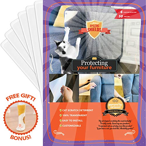 Amazing Shields - Six(6) X-Large Furniture Protectors from Cats - Cat Repellent for Furniture - Cat Scratch Deterrent - Cat Couch Protector - Scratch pad - Cat Couch(17