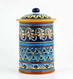 Hand Painted Italian Ceramic 9-inch Canister Geometrico 40E - Handmade in Deruta