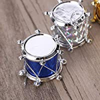 Garneck 48pcs Christmas Mini Drum Hanging Pendants, Christmas Glitter Mini Drum Ornaments,Christmas Tree Hanging Ornaments for Hotel Dorm Bar Home