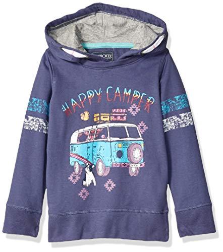 (Cherokee Girls' Big Happy Camper Pullover Hoodie, Blue Indigo, 4)