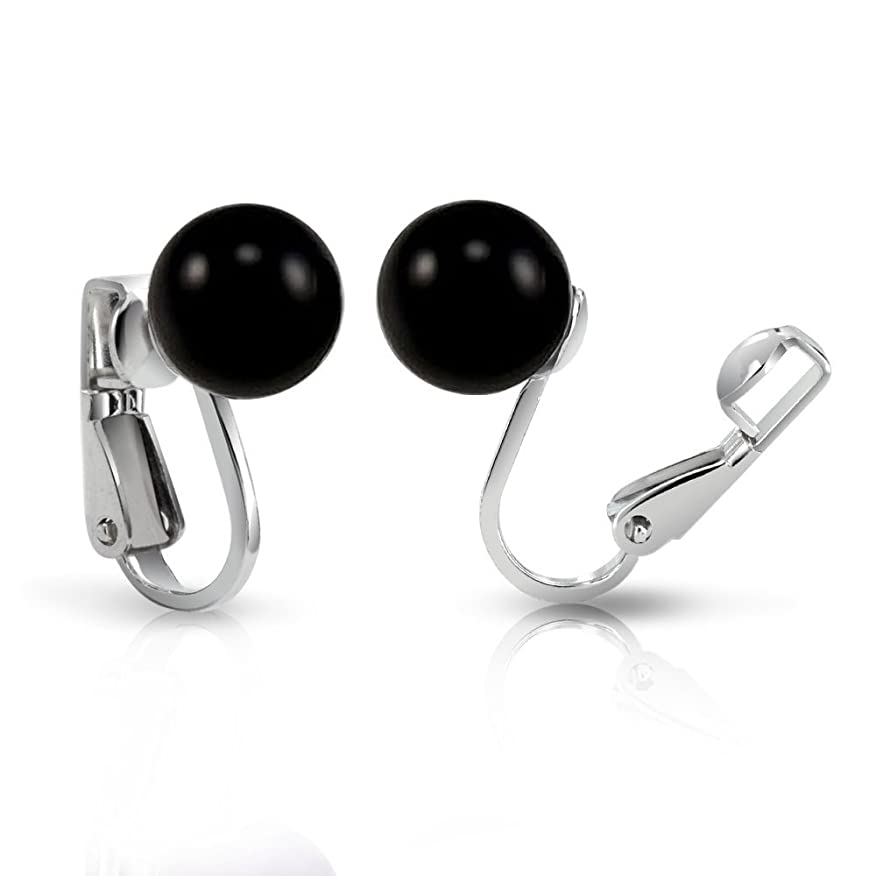 Bling Jewelry Dyed Black Onyx Ball Sterling Silver Clip On Earrings e4O8St