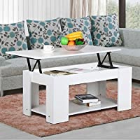 Go2buy Modern Lift Top Tea Coffee Table w/ Hidden Storage Compartment & Under Shelf Living Room Furniture, White