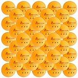 Portzon Pelotas de Tenis de Mesa de Entrenamiento avanzado de 3 Estrellas Premium, 50 Unidades, Color Naranja