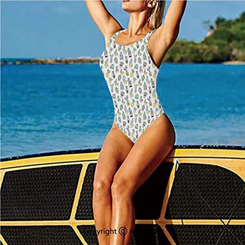 (Swimwear Low Back,Hand Drawn Foliage in Vases Inspiratio,Women's Swimsuits)