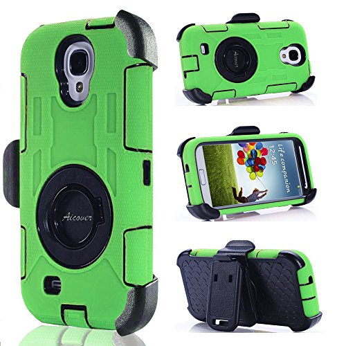 S4 Case, Galaxy S4 Case, Aitech Ultra Shock&drop-proof Amy-grade Protective Hard Defender Case and Three Layer Hard Shell Cover Holster with 360 Degree Rotating Ring Bracket Protective Case for Samsung Galaxy S4-- TPU Rubber & Silicone Case with Stand & Clip for Samsung Galaxy S4 I9500 (Green+Black)