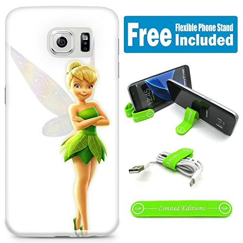 [Ashely Cases] For Samsung Galaxy S7 Cover Case Skin with Flexible Phone Stand - Tinkerbell White (Tinkerbell Cell Phone Covers)