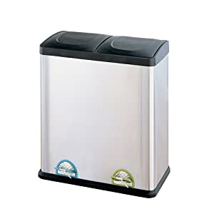 Organize It All Dual Compartment Step-On 16-Gallon Recycling Trash Can, Stainless Steel