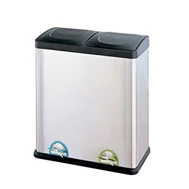 Organize It All 4904W-1 recycling trash can, 16-Gallon, Silver, Black