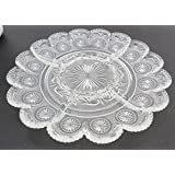 """Clear Glass Server With 5 Sections Star And Scroll Pattern 11.5"""" Across"""