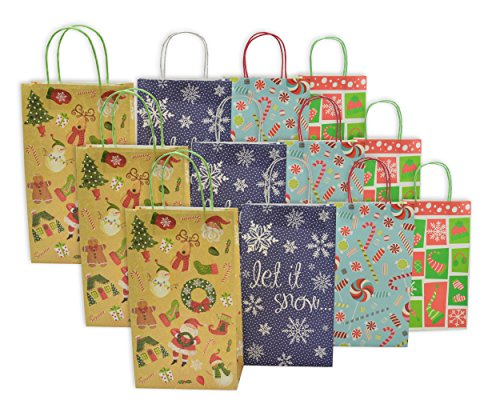 Christmas Tall Gift Bags White Kraft 12 Pack Buy Online