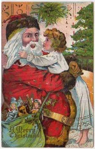 Post Card Little Child Hugging Santa Claus 1908