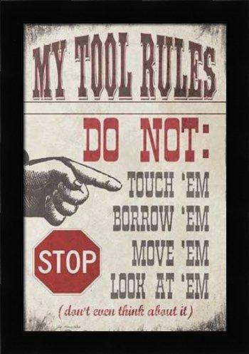 My Tool Rules - Framed Art - Fine Art by Moulton, Jo in Studio Black