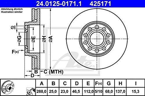 ATE BREMSSCHEIBE BEL/ÜFTET /Ø288+BREMSKL/ÖTZE VORNE ATE 24.0125-0171.1 ATE 13.0460-7110.2