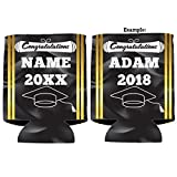 Custom Graduation Can Cooler- Congratulations Cap And Gown Design - Graduation Party Beverage Coolers (100)