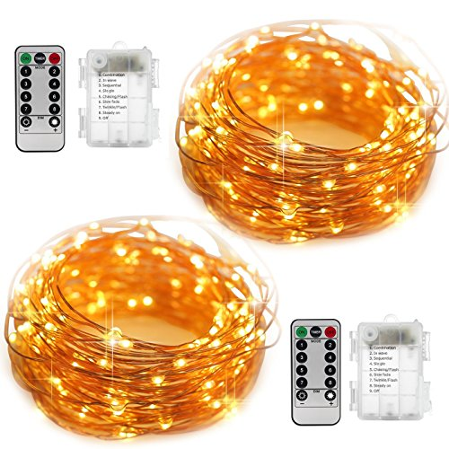 2 Set Fairy Lights Battery Operated Fairy String Lights Waterproof YIHONG 8 Modes 50 LED String Lights 16.4FT Copper Wire Firefly Lights Remote Control (Warm White)