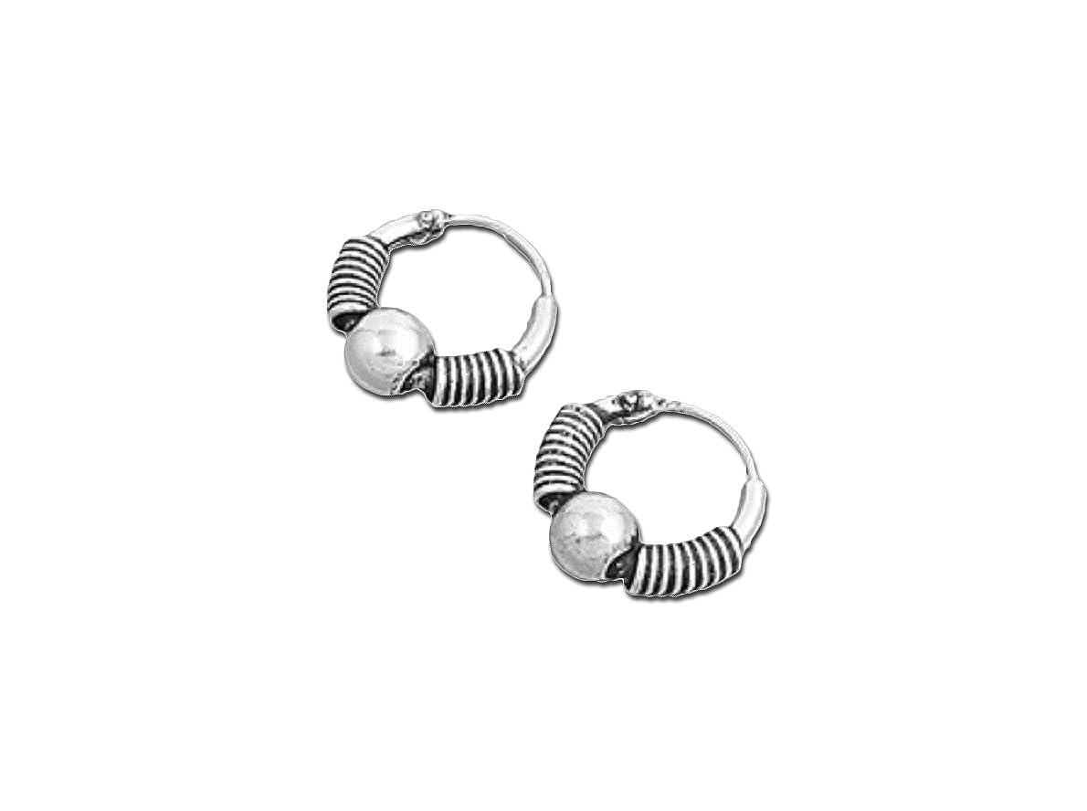 721cb6c7f Amazon.com: Tribal Artisan Jewelry Bali Hoop Earrings Sterling Silver 13x3:  Jewelry