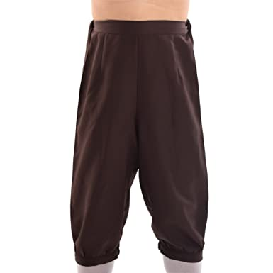 BLESSUME Retro Victorian Steampunk Colonial Men Fancy Costume Short  Breeches Riding Dickens Trousers Pants