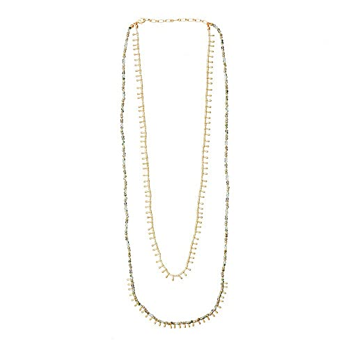 c4461af5b102 LuckyLy – Collares Largos de Mujer Moda - Collar Mujer Lucie Doble – Color  Oro Mate
