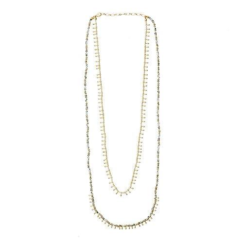 93b99ed506b0 LuckyLy – Collares Largos de Mujer Moda - Collar Mujer Lucie Doble – Color  Oro Mate